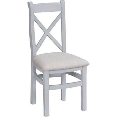 Tyler Ladder Back Dining Chair In Grey With Fabric Seat