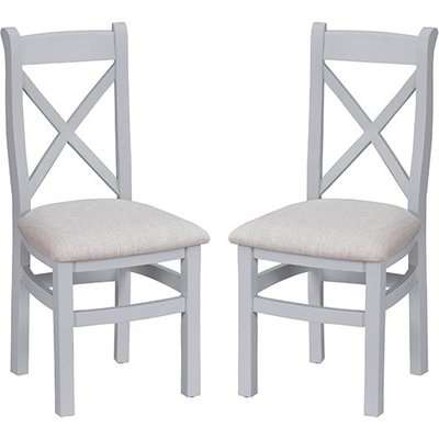 Tyler Grey Ladder Back Dining Chairs With Fabric Seat In Pair