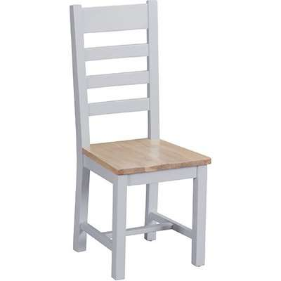Tyler Ladder Back Dining Chair In Grey With Wooden Seat