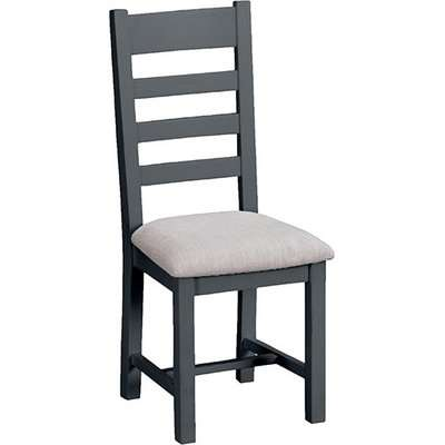 Tyler Ladder Back Dining Chair In Charcoal With Fabric Seat