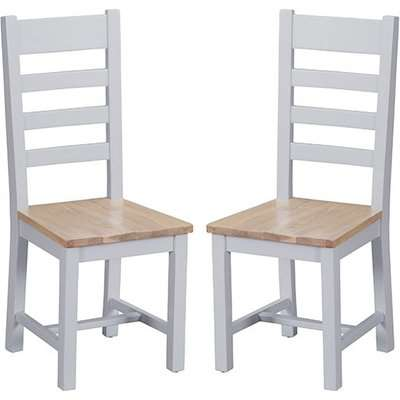 Tyler Grey Ladder Back Dining Chairs With Wooden Seat In Pair