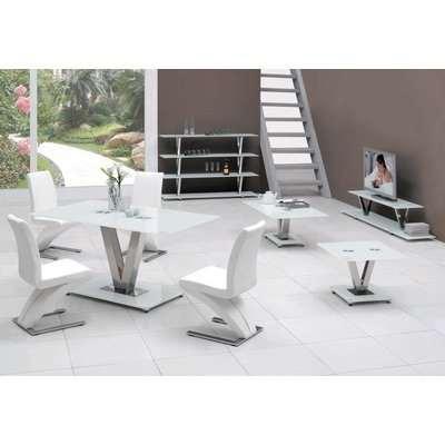 V White Glass Dining Table Only