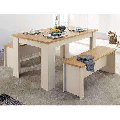 Valencia Wooden Small Dining Table With 2 Benches In Grey