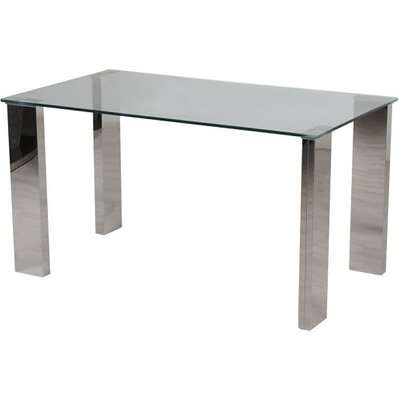 Valencie Glass Dining Table Rectangular With Polished Steel Base