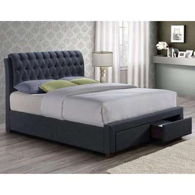 Valentino Fabric Double Bed In Charcoal With 2 Drawers
