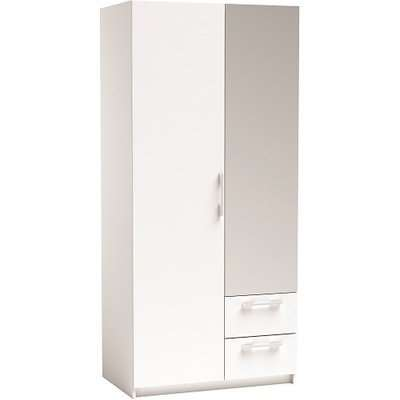 Vegas Mirrored Wardrobe In Pearl White And Linen With 2 Doors