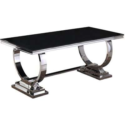 Venica Black Glass Rectangular Dining Table With Chrome Base