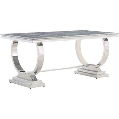 Venica Grey Marble Rectangular Dining Table With Chrome Base