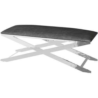 Vertue Velvet Fabric Upholstered Dining Bench In Black