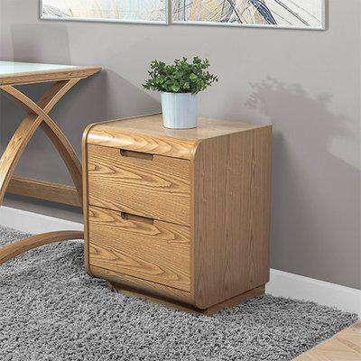 Vikena Wooden Pedestal Storage Unit In Oak With 2 Drawers