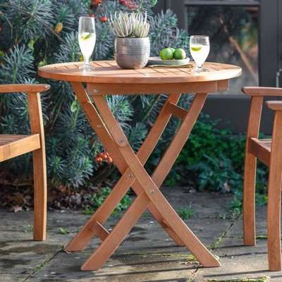 Vikota Outdoor Round Wooden Folding Dining Table In Natural