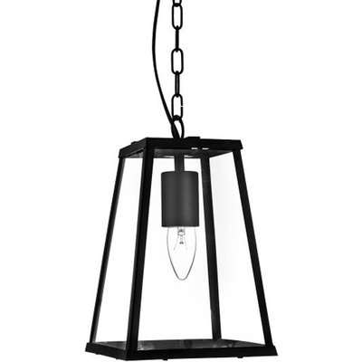 Voyager Matt Black Tapered Bar Lantern With Clear Glass Shade