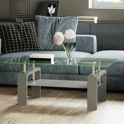 Willis Glass Coffee Table In Clear With Grey High Gloss Legs