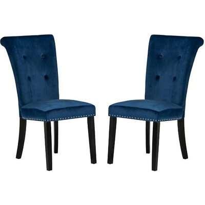 Wodan Velvet Dining Chair In Black With Oak Legs In A Pair