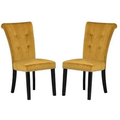 Wodan Velvet Dining Chair In Mustard With Black Legs In A Pair