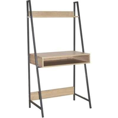 Loft Wooden Ladder Bookcase Desk In Oak And Grey Metal Frame