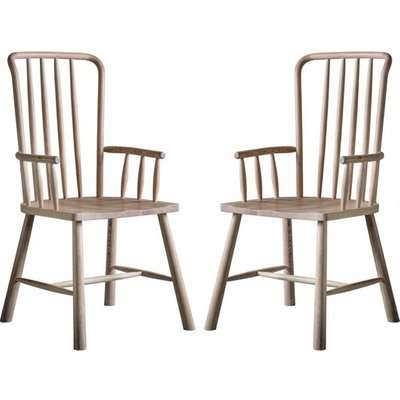 Wycombe Oak Wooden Carver Dining Chairs In Pair