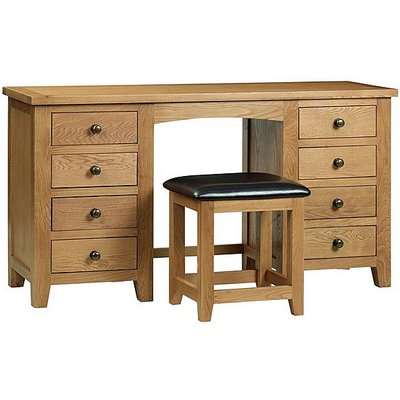 Addison Twin Pedestal Dressing Table - Brown