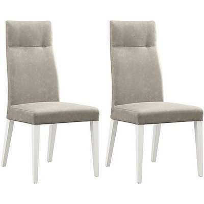 ALF - Fascino Pair of Faux Leather Dining Chairs - Beige