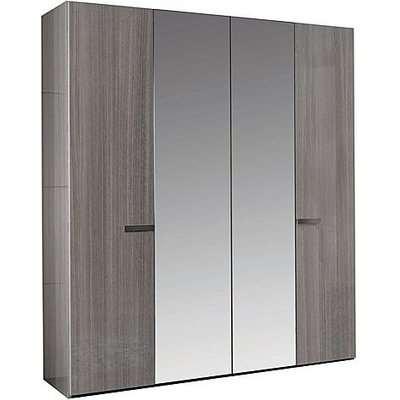 ALF - Movado 4 Door Wardrobe with Mirrors - Grey