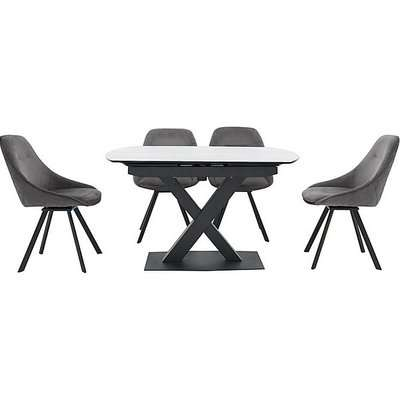Arctic Extending Dining Table with White Top and 4 Swivel Chairs - Grey