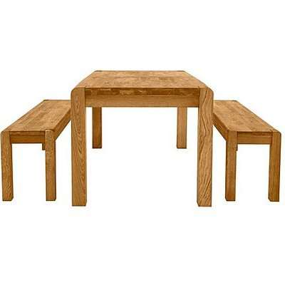 Bakerloo Small Extending Table and 2 Small Benches Dining Set