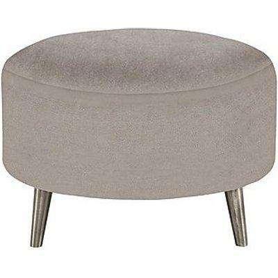 Celestia Fabric Round Footstool - Grey