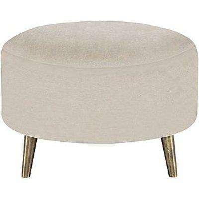Celestia Fabric Round Footstool - Cream