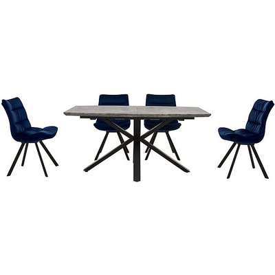 Diego Rectangle Extending Dining Table and 4 Chairs - Blue