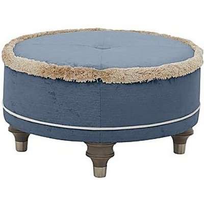 Duresta - Princeton Round Fabric Footstool - Blue