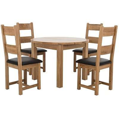 Furnitureland - California Round Solid Oak Extending Dining Table and 4 Wood Ladder Back Chairs
