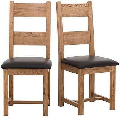 Furnitureland - California Pair of Wooden Ladder Back Dining Chairs - Brown