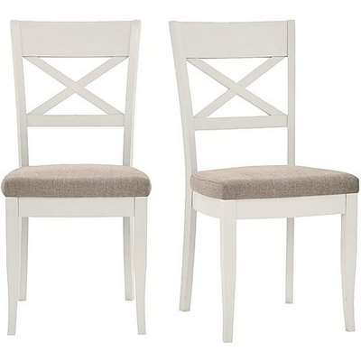 Furnitureland - Annecy Pair of Cross Back Fabric Dining Chairs - Grey