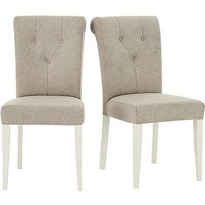 Furnitureland - Annecy Pair of Upholstered Fabric Roll Back Dining Chairs - Grey