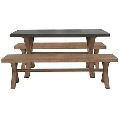 Fusion Small Table and 2 Dining Benches Set
