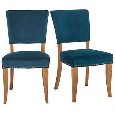 Globe Pair of Velvet Dining Chairs - Teal