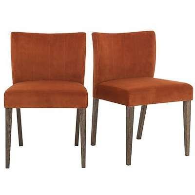 Havana Pair of Velvet Dining Chairs - Orange