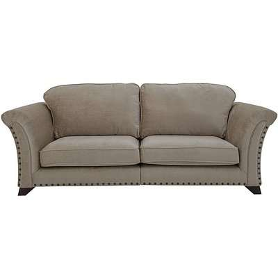 Holly 4 Seater Fabric Split Classic Back Sofa with Studs - Beige