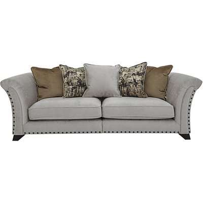 Holly 4 Seater Fabric Split Pillow Back Sofa with Studs - Grey
