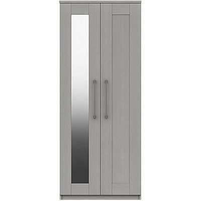 London Bedrooms - Fenchurch 2 Door Wardrobe with Mirror - Grey