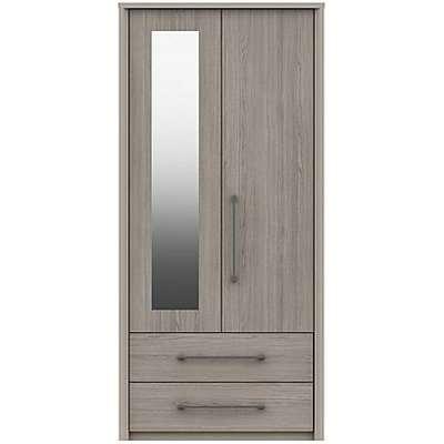 London Bedrooms - Paddington 2 Door 2 Drawer Wardrobe with Mirror - Grey