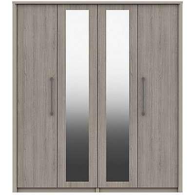 London Bedrooms - Paddington 4 Door Wardrobe with Mirrors - Grey