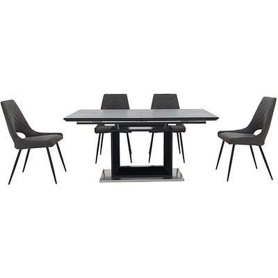 Metallica Extending Dining Table with Graphite Ceramic Top and 4 Chairs - Grey