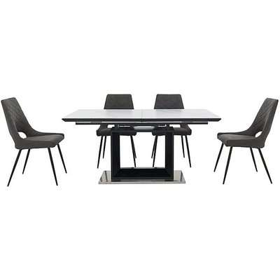 Metallica Extending Dining Table with White Ceramic Top and 4 Chairs - Grey