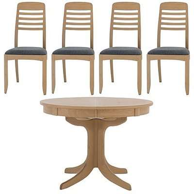 Nathan - Shades Extending Round Pedestal Dining Table and 4 Ladder Back Dining Chairs