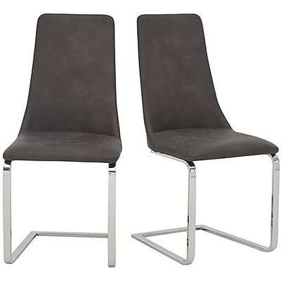 Nevada Pair of Faux Leather Dining Chairs - Grey