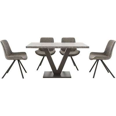 Rocket Dining Table and 4 Faux Leather Chairs Dining Set