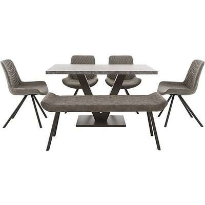 Rocket Dining Table, 4 Faux Leather Chairs and Low Bench Dining Set