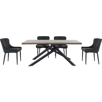 Sapporo Table and 4 Velvet Chairs Dining Set - Grey