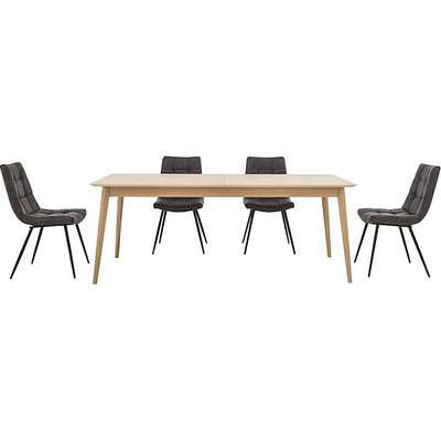 Walker Extending Dining Table and 4 Chairs - Grey